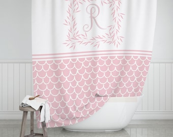 Personalized Shower Curtain Pink Scalloped Wreath