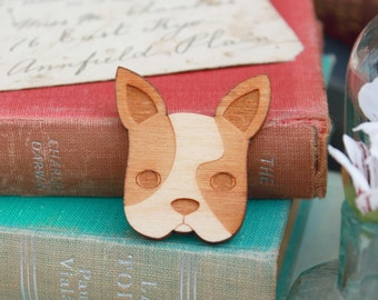 Laser Cut Wooden French Bulldog Brooch Brooch