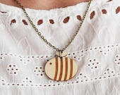 Laser Cut Wooden Bumble Bee Necklace