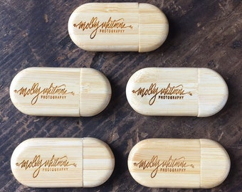 Set of 30 Personalized 8GB USB Drives, Engraved Zip Drives, Custom Thumb Drives, Wooden USB Drives, Bamboo Zip Drives