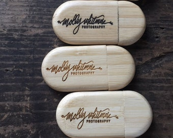 Set of 36 Personalized 8GB USB Drives, Engraved Zip Drives, Custom Thumb Drives, Wooden USB Drives, Bamboo Zip Drives