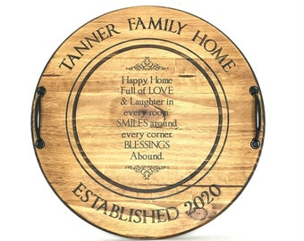 "18"" Round Barrel Head Serving Tray, Wine Barrel Head Serving Tray, Customized Serving Tray, Personalized Server"