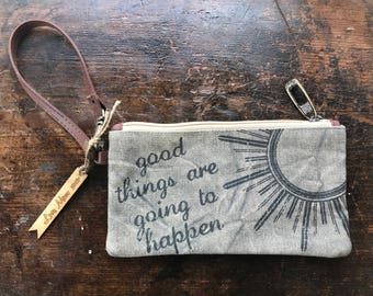 "Personalized Canvas ""Choose Happy"" Pouch, Wrist Bag, Personalized Purse, Engraved Purse, Personalized Valentine's Day Gifts, Custom Carryall"