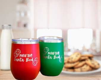 Santa Bod Engraved Polar Camel Vacuum Sealed wine cup w/ Lid, Personalized wine Cup, Custom Engraved Yeti Style wine cup, Christmas Wine