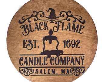 Black Flame Candle Co Home Decor Halloween Sign, Laser Engraved Sign, Wood sign, Halloween Decor, Halloween Gifts, Witch Theme Decor