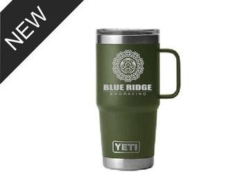 20oz Custom Engraved YETI Travel Mug w/ Handle & New Stronghold Lid, Vacuum Sealed mug w/ Handle, Personalized Travel Mug, Engraved YETI Cup