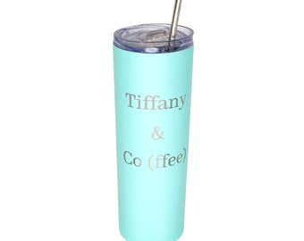 20oz Skinny Tumblers w/ Clear Lid and Straw, Personalized tumbler, Custom Engraved Yeti Style Cup, Personalized Bridal Party Cups