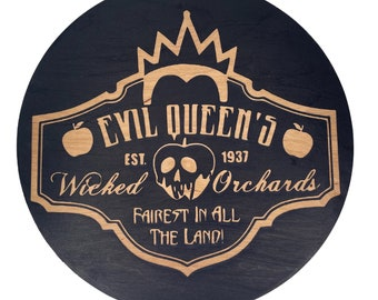 Evil Queen Orchard Home Decor Halloween Sign, Laser Engraved Sign, Wood sign, Halloween Decor, Halloween Gifts, Witch Theme Decor