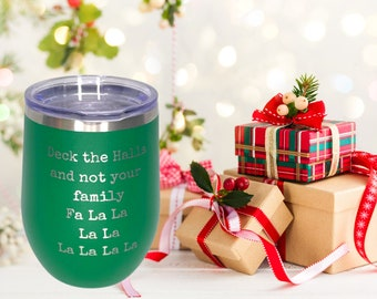 Deck The Hall Engraved Polar Camel Vacuum Sealed wine cup w/ Lid, Personalized wine Cup, Custom Engraved Yeti Style wine cup, Christmas Wine