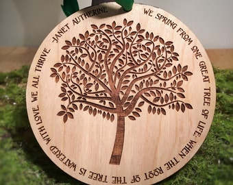Tree of Life Personalized Engraved Wooden Christmas Ornament: Teacher Appreciation Gift, 2017 Christmas Ornament, Baby's First Christmas