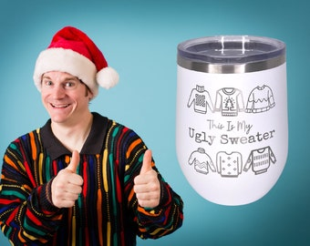 Ugly Sweater Engraved Polar Camel Vacuum Sealed wine cup w/ Lid, Personalized wine Cup, Custom Engraved Yeti Style wine cup, Christmas Wine