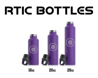 Custom Engraved RTIC Bottles, 16oz, 20oz, 26oz, Vacuum Sealed Bottles, Personalized Sports Bottle, Engraved RTIC Bottles, Cupholder Friendly
