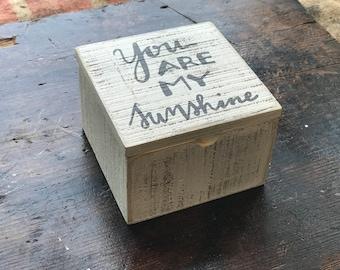 "Personalized Slat ""Sunshine"" Box, Customized Wooden Box, Personalized Box, Engraved Box, Personalized Valentine's Day Gifts"