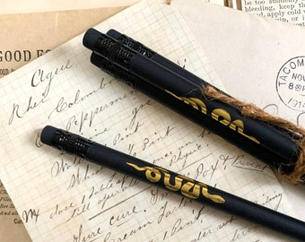 Snake graphite pencils 3-pack, witch pencils, grimoire stationery, witchy writing tools, matte black pencils, black and gold pencils