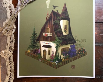 The Cottage 8x10 fine art print, witchy, cottage witch, cottagecore, farmfore, fairycore, fairy tale