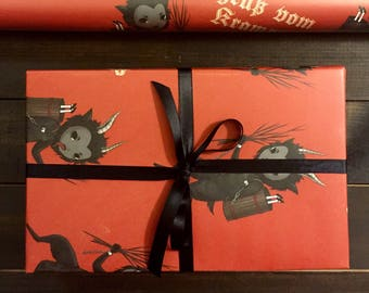 Krampus wrapping paper 3-pack, creepy Christmas gift wrap, creepmas, goth wrapping paper, Krampusnacht