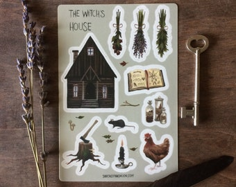 The Witch's House sticker sheet, witchy stickers, homestead, witchcraft, kitchen witch, green witch, stationery, hygge