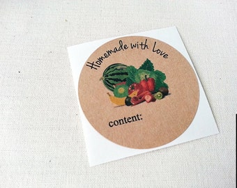 40 Homemade with Love Canning Jar Labels / Share the Bounty / Food Labels / Mixed Vegetable / Once Upon Supplies / Kraft Food Labels