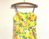 1970 39 s Floral Romper Swimsuit By Sea Waves