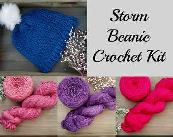 Storm Beanie Crochet Kit, Choose from 6 colors!