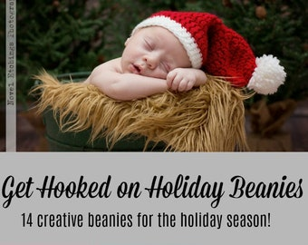 Get Hooked on Holiday Beanies Crochet Pattern eBook - PDF - Instant Digital Download