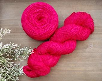 Magenta Pink Hand Dyed Yarn