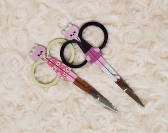 Bear Embroidery Scissors, Pink Floral or Purple