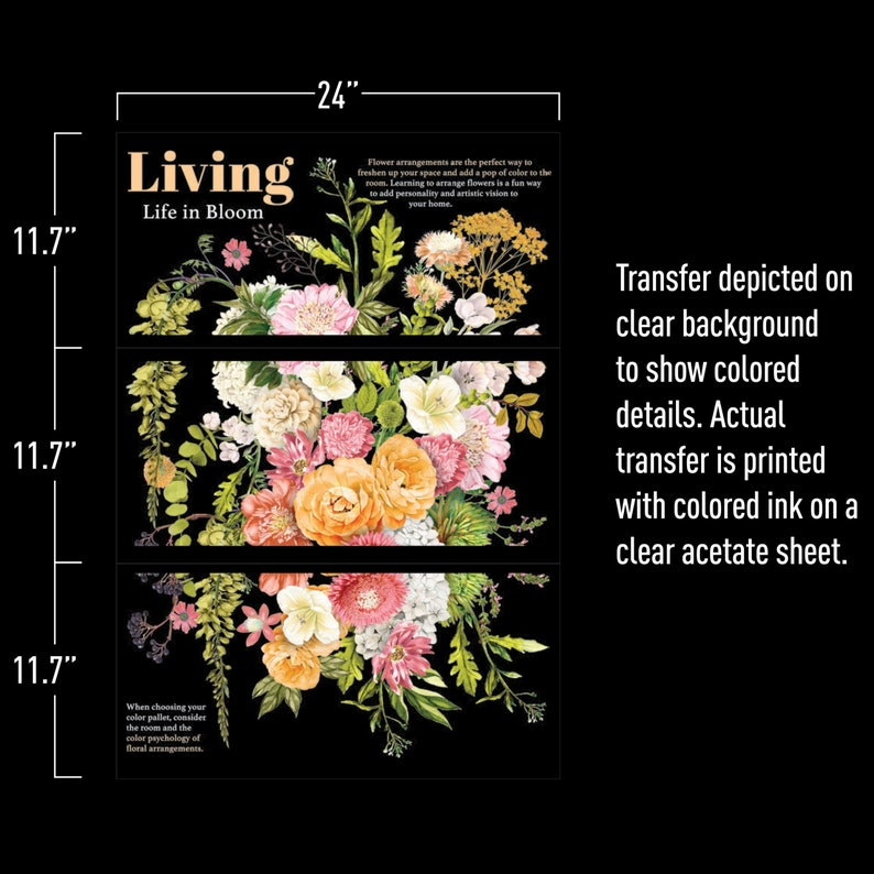 Life In Full Bloom New Release Redesign with Prima Transfer Rub-on Decals Furniture Embellishments