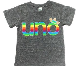 Uno Birthday Shirt Fiesta Mexican PartyRainbow Print First Gender Neutral ShirtNEW DESIGN