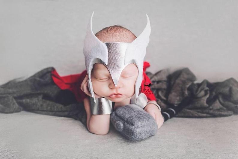 Superhero Photog Prop Halloween Costume for Newborn boy Marvel Comics Thor Baby Superhero Boy Costume Mask /& Cuffs ONLY Handmade Hero