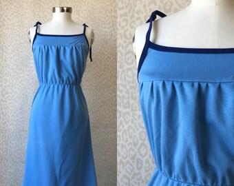 Blue strap dress size S, vintage strap dress, light and dark blue dress, tricot dress, knee dress, 80's fashion, retro style