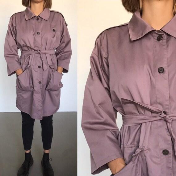 70's trench coat, subtle gray/purple overcoat, vin