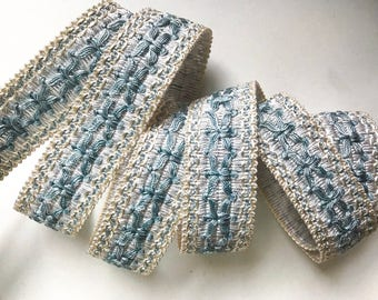 """French Passementerie trim by yard - 1 1/4"""" 3cm trim - upholstery edging - sewing supply - light blue ornamental ribbon - vintage habedashery"""