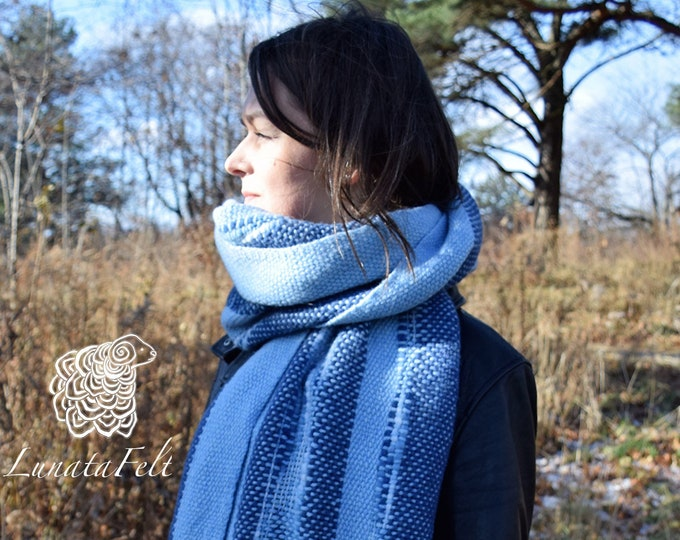 Featured listing image: Sky blue -  Handwoven scarf made of handspun pure merino yarn OOAK - warm and hygge - ready to ship