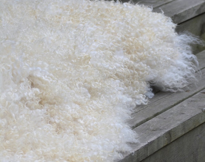 "Featured listing image: White Gothland - hand made felt fur rug from organic wool and sheep curls - pet and eco-friendly-29"" x 50""(76x130cm)-ready to ship"