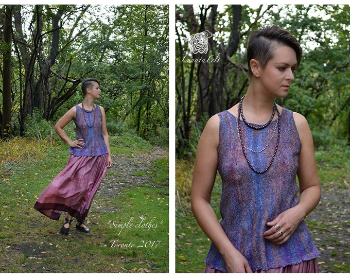 Featured listing image: Violet - nunofelted silk and wool sleeveless top - silk top - OOAK - ready to ship