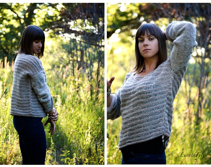 Featured listing image: Dune - comfy hand knitted wool sweater from Alpaca/silk and fine merino yarn  - OOAK, boho/ethno - ready to ship!