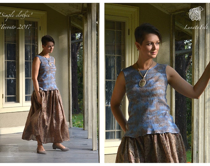 Featured listing image: Hydrangea  - nunofelted silk and wool sleeveless top - silk top - OOAK - ready to ship