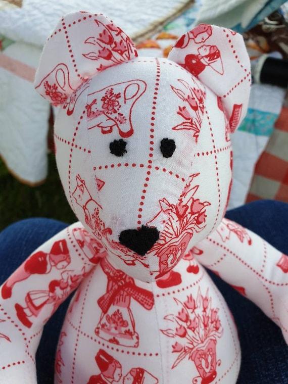 Small Teddy Bear Grey with printed Ragdolls /& Heart Nose
