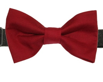 a874325fd94a Boys Wine Red Cotton Pre-Tied Bow Tie Bowtie | Boy Bow Tie | Wine Red Bow  Tie | Youth Ages 6 7 8 9 10 11