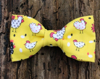 Boys Yellow Chicks Clip On Cotton Bow Tie Easter Bowtie