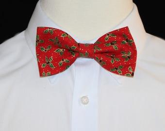 Red- Green- Plaid- Mistletoe Newborn Bow Tie Baby Bowtie Holiday Collection- Baby Boy Bow Tie Baby Boy Tie Bow Tie Onesie