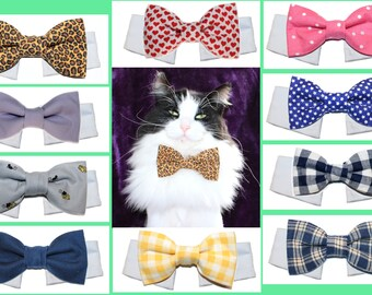 Free Shipping Cat Bow Tie ~ Cotton Bow Tie /& White Shirt Collar For Adult Cat Formal Bow Tie Brown Striped Plaid Leopard Print