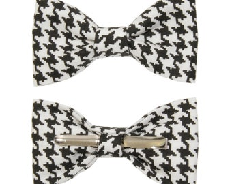 Choose Men/'s or Boys New Black With White Polka Dots Clip-On Cotton Bow Tie
