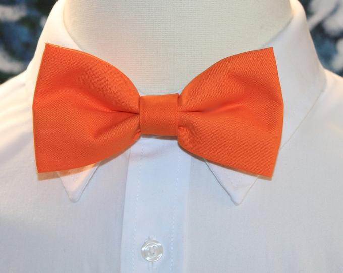 Men/'s Bow Tie Free Shipping Solid Orange Clip-On Cotton Bow Tie Boys Bow Tie