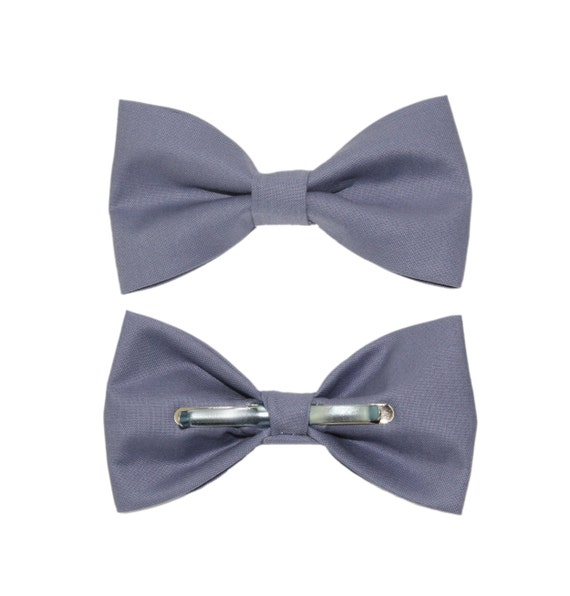 Slate Blue Clip-On Cotton Bow Tie Bowtie | Choose Men's or Boys Bowtie | Mens Clip On Bow Tie | BoySlate Bow Tie | Big and Tall Bow Tie