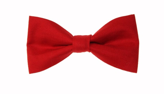 Boys Burgundy Red Clip On Cotton Bow Tie Bowtie amy2004marie