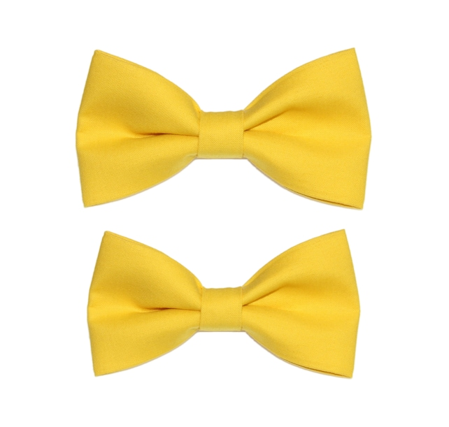 Citrus Yellow Matching Father and Son Clip-On Cotton Bow Ties (2 Clip-On Bow Ties) | Family Photo | Photo Prop | Mens Boys
