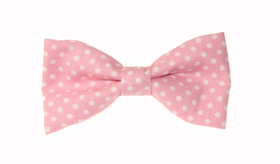 Mens Pink With White Dots Clip On Cotton Bow Tie Bowtie by amy2004marie