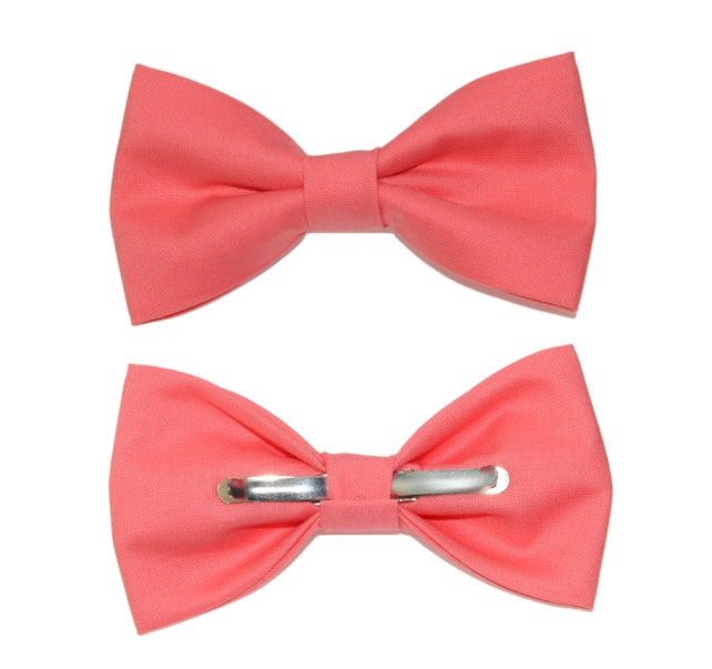 Flamingo Pink Clip-On Cotton Bow Tie | Choose Men's or Boys Bowtie | Mens Clip On Bow Tie | Boy Bow Tie | Big and Tall Bow Tie | Pink Bowtie